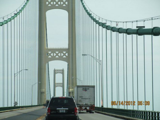 The Mackinac Bridge links the Upper Peninsula of Michigan to the lower  Peninsula of Michigan. Going south Lake Michigan is on the right Lake Huron on the left.