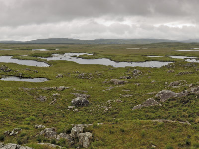 Bogland in Connemara, Connacht. Largely unsuitable for agriculture, the 'ragged' coastal lands of Ireland make an ideal backdrop for adventure stories