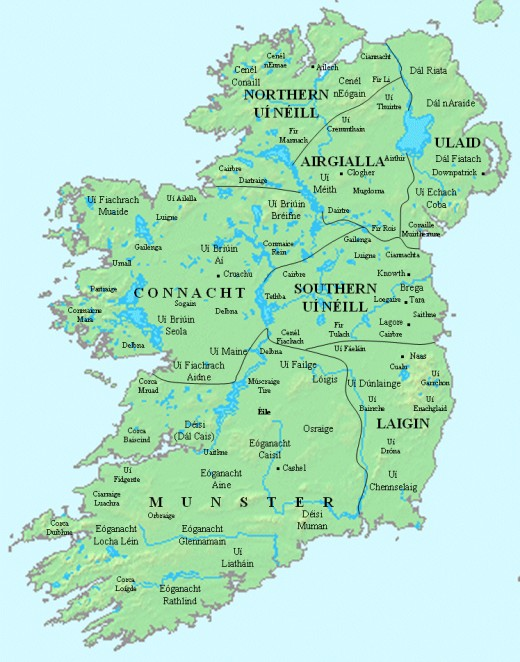 The early kingdoms of Ireland. Connacht is on the upper left,snaking around the western edge of neighbouring Ulster in the north-east