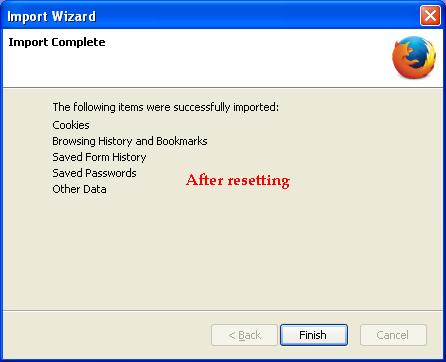 After resetting Firefox