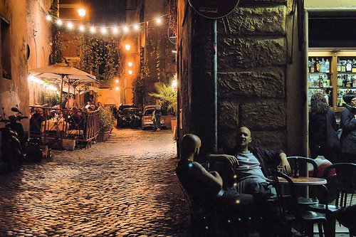 Relax with a drink at one of the bars on the cobbled streets of Trastevere