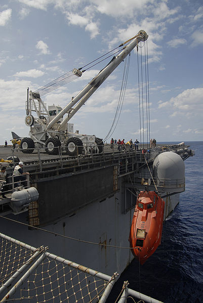 The orange lifeboat of the Maersk Alabama, taken onto the amphibious assault ship USS Boxer (LHD 4). It was processed for evidence after the rescue of Capt. Richard Phillips after 5 days as a hostage in it.