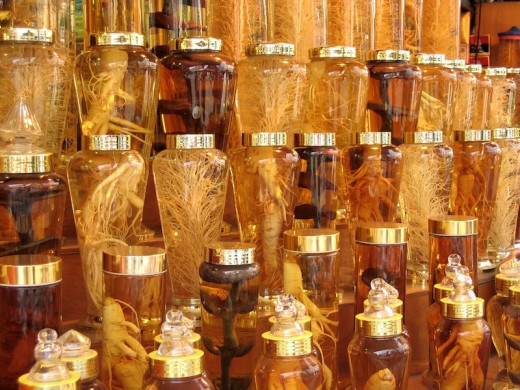 Ginseng root in bottles