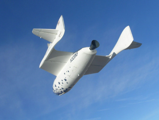 The privately financed Spaceship One in flight