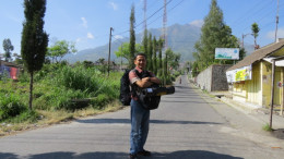 Just arrived at Selo with Merapi in the background.
