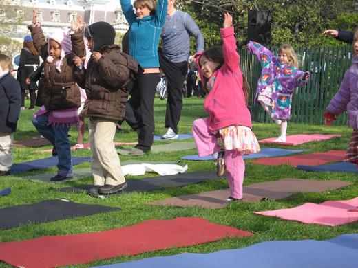 Kids learning Yoga