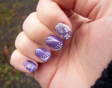 Real nails...Purple, White, Gorgeous!