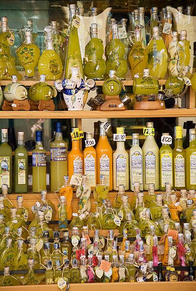 Description : Limoncello bottles, Capri, Italy Date :September 2008 Source :Own work Author :Jorge Royan