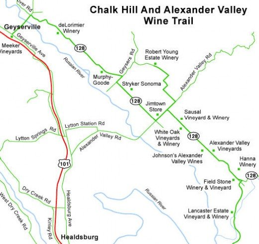 Winery map of Alexander Valley near Healdsburg