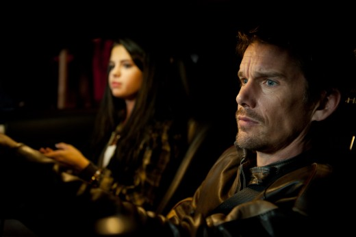 Ethan Hawke and Selena Gomez star in the thriller Getaway.