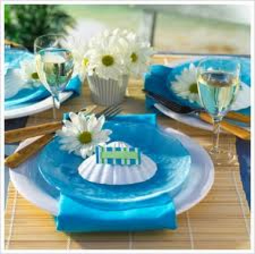 Blue and white is a fantastic colour for a beach wedding