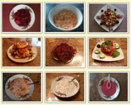 Popular Foods in Belarus - Beet Salad with Prunes, Carrot Salad with Raisins, Herring, Syrniki, Vinegret, Stuffed Bell Peppers, Cabbage Soup, Okroshka, Cold Borscht