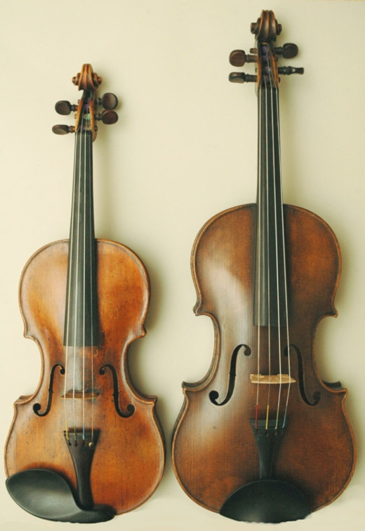 On the left, we have a violin. On the right, we have a viola.