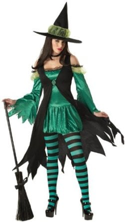 The unique design of this costume coupled with its bright shade of emerald green is perfect for those who want their witch outfit to be different