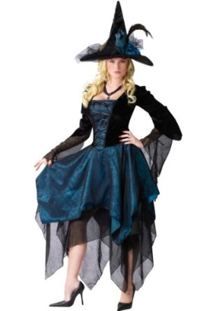 Magical Lady Adult Witch Costume Size Medium/Large (10-14) - Black & Blue