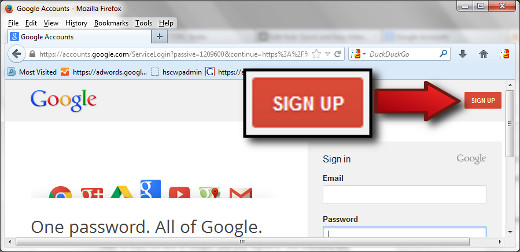 "Use the red ""SIGN UP"" button to create a Google Account."