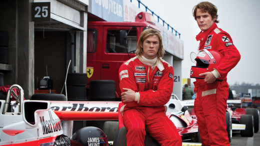 Chris Hemsworth is James Hunt and Daneil Bruhl plays Niki Lauda in the Ron Howard movie Rush about these two famous Formula One drivers and their historic rivalry