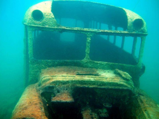 This school bus sits on the north side of the lake at about 20ft depth.