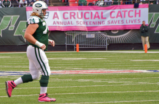 The New York Jets Center - Nick Mangold  knows that early detection of breast cancer saves lives.