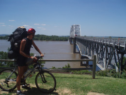 Preparing to cross the Mississippi River on a sketchy bridge riding out from Chester, Illinois into Missouri.
