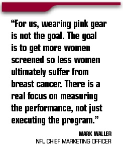 for us wearing pink gear is not the goal. The goal is to get more women screened so less women ultimately suffer from Breast Cancer.