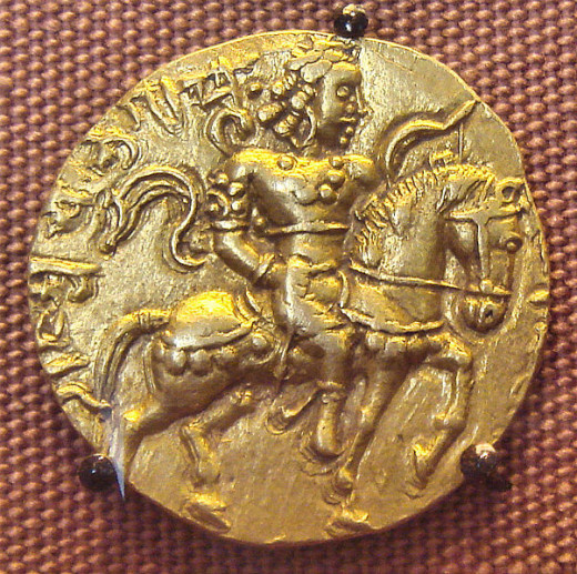 Chandragupta || on his Horse and equipped with arms.