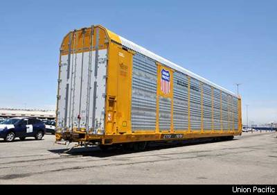 Union Pacific Auto carrier that is capible of holding up to 18 cars, depending on size and shape