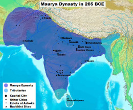 The image showing Mauryan empire in the reign of Ashoka the Great.