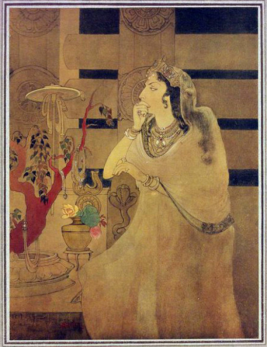 The imaginary image of the Ashoka queen made by Abanindranath Tagore (1871–1951).