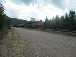 Grain train westbound on Marias Pass MT