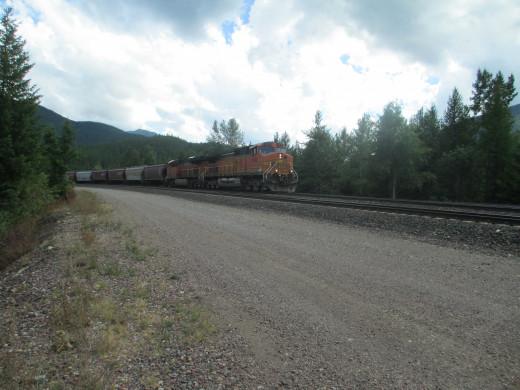 Grain train westbound on Marias Pass MT