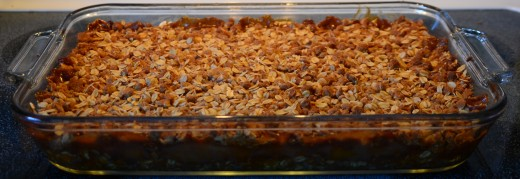 A pan full of pumpkin crisp. Yummy!