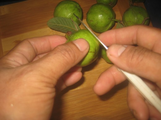 Peeling the guavas (Another term for guavas is pera, derived from pear. It is common around the western Indian Ocean and probably derives from Spanish or Portuguese.)