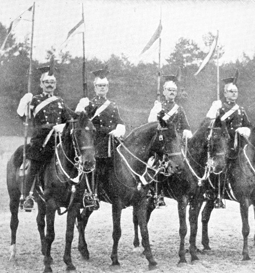 Troopers of the 9th Lancers in parade dress