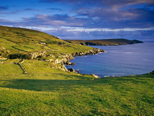 The coast of Ireland - the isle was cut off from the mainland along with Britain several thousand years ago after the last Ice Age, when the lower-lying lands were engulfed by incoming seas - part of the legend of Fintan
