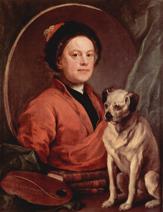 1745 painting of a Pug. Showing a longer nose than the Pug we know today.