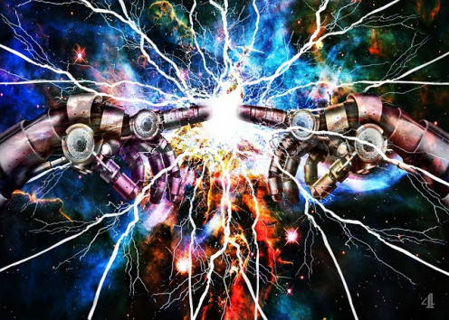 Electric touch. Robots are often characters of science fiction novels.