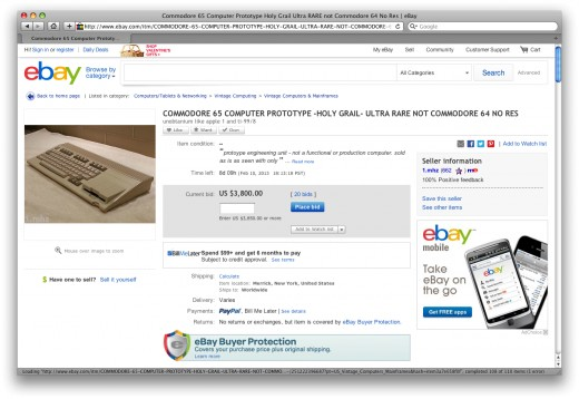 Note the utlra-high bidding price for the extremely rare Commodore 65. This shows how difficult it is to pick one of these machines up