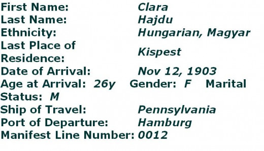 Clara Hajdu Arrival Record at Ellis Island, New York