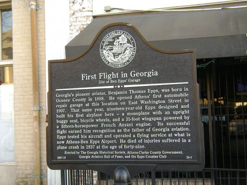 First Flight in Georgia Historical Marker, Athens.