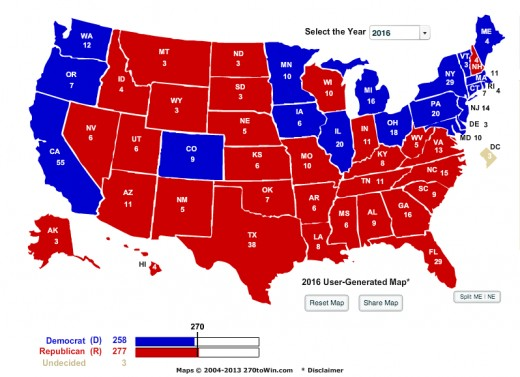 Potential Electoral Map For Ben Carson. This is assuming he is up against a Democratic candidate.