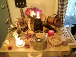 A personal altar, like the one seen here, can help you dedicate a special space in your home or office for the practice of your spirituality.