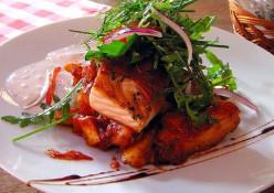Salmon Stuffed with Walnuts, Herbs, Homemade Spicy Tahini Sauce