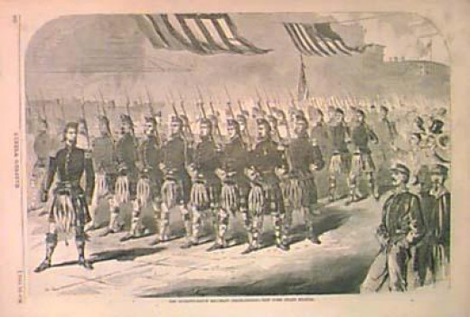 Illustration of the New York Highlanders Militia. Note the kilts.