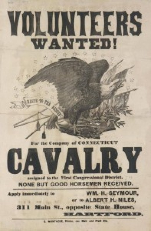 Recruiting poster seeking Cavalry Volunteers for a Connecticut unit