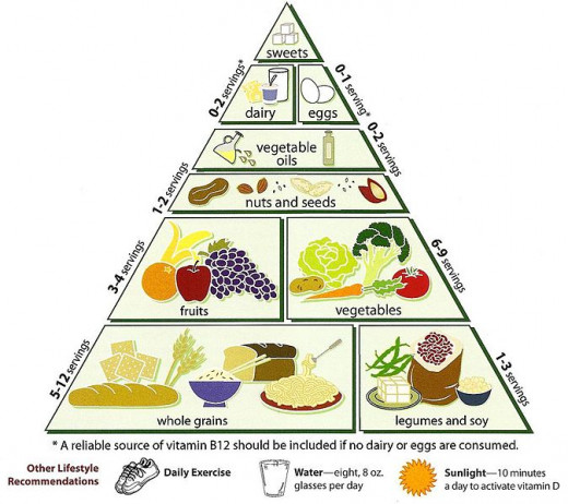 The vegetarian pyramid provides a good guide to the balance desire for the various food types.