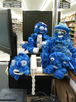 Characters made from plastic bags