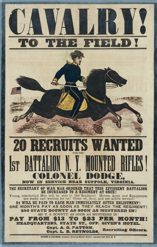 "Recruitment poster for a New York cavalry unit - the ""Mounted Rifles""."
