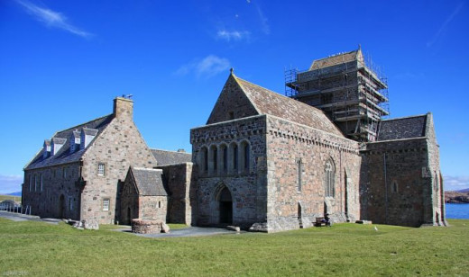 The abbey on Iona - the site was used to bury a number of the early Scots kings off the south-west coast of Scotland