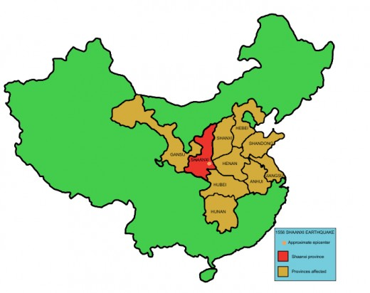 Map showing Shaangxi province in china and the provinces affected by the 1556 Shaanxi earthquake.